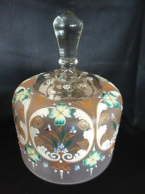 Antique Vintage Enameled Crystal Satin Finish Cheese Dome