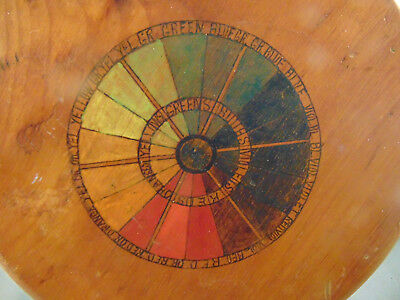 Primitive wooden hand crafted 3 legged stool color wheel chart seat grab handle