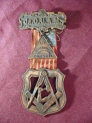 Late 19thc MASONIC Freemason MEDAL for JR.ORDER United AMERICAN MECHANICS