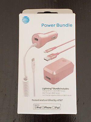AT&T Charge Sync Cable Wall Charger Car Charger lightning Bundle iPhone X 8 7+