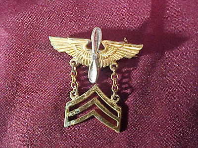 Orig WWII US Home Front STERLING SWEETHEART PIN w AIR FORCE WINGS + Sgt STRIPES