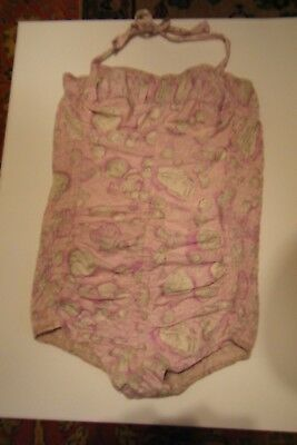 Vtg 1940's 50's 60's Tagged Cole Pink Print Swimsuit W/elastic Ruching Size M