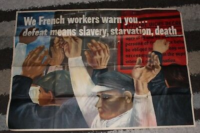 WW2 WWII US GOVERNMENT BEN SHAHN POSTER WE FRENCH WORKERS WARN YOU Original 10