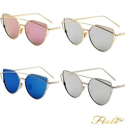 Womens Mens Glasses  Mirrored  Polarized Cat Eye Retro Sunglasses Oversized AU