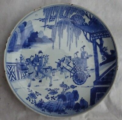 Antique Chinese Blue & White Plate With Kangxi Mark