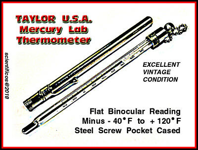TAYLOR BINOC Magnifier Pocket Lab Thermometer -40°F to +120°F in Steel Pen Case