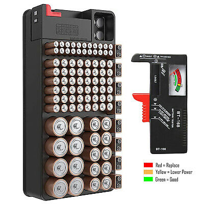Battery Storage Organizer Tester Removable Case for AAA AA 9V C D 100+ Batteries