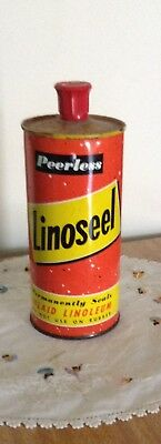 "Vintage 1950s Peerless ""Linoseel"" Lino Polish Made In Australia Pint Tin VGC"