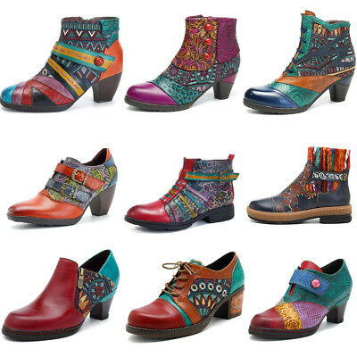 SOCOFY AU Women Handmade Block Boots Genuine Leather Splicing Zipper Ankle Shoes