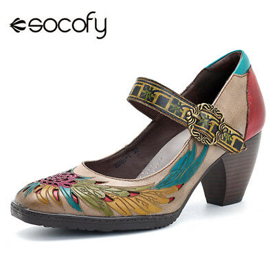 SOCOFY Women Mid Block Heel Real Leather Mary Jane Pumps Hollow Casual Sandals