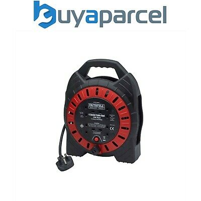 Faithfull 10m 13A Cable Reel 4 Socket Fast Rewind FPPCR10MSE XMS18REEL10