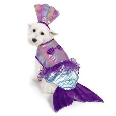 Halloween MERMAID Shimmery Dog Pet Costume Shell Top and Rhinestone headpiece