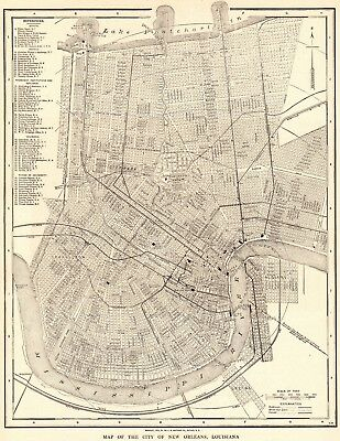 Antique New Orleans Map.1917 Antique New Orleans Map Vintage Map Of New Orleans Louisiana 5580