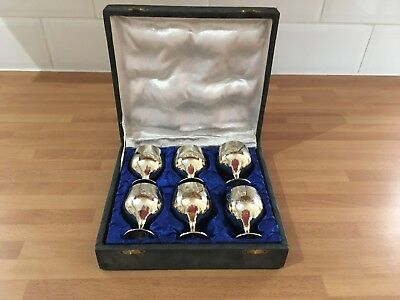 set of six miniature silver plated wine goblets / gothic chalice boxed