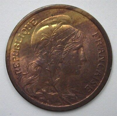 France 1911 2 Centimes  Near Gem Uncirculated Red-Brown