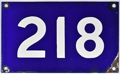 Old Australian used house number 218 door gate enamel metal sign in French blue