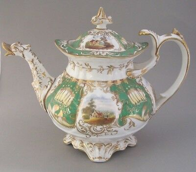 Coalport Teapot With Hand Painted Landscapes -   C.1840 -  Pattern   138