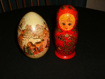 Excellent Russian Hand Painted Wooden Egg & Matryoshka Nesting Doll Nice