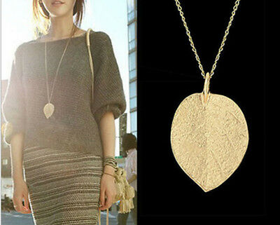 1pc Leaf Pendant Sweater Golden Necklace Jewelry Women Long Chain Vintage 2017