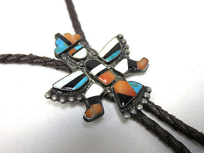 Signed 1930 Zuni Native American Indian Silver Knife Wing Kachina Bolo Tie