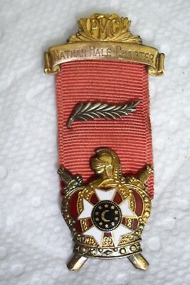 Old PMC DeMolay Conn.Badge & Ribbon Nathan Hale Chapter Knight,Swords & Shield