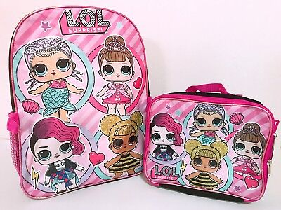 "LOL Surprise Dolls 16"" Backpack School Book Bag Detachable Lunch Box Bag Set NEW"