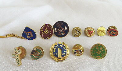 12 Masonic Lapel Pin Badges - All Different (22A)