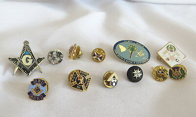 12 Masonic Lapel Pin Badges - All Different (19A)