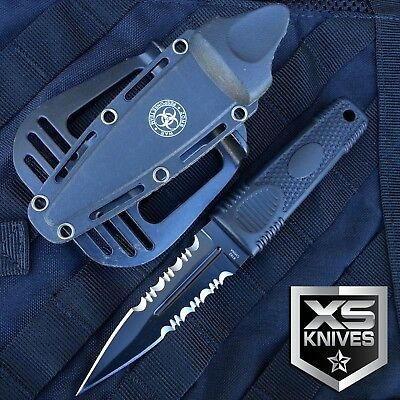 """8"""" ZOMBIE WAR Black Boot Hunting Survival Fixed Blade Knife W/ Sheath"""