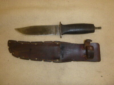Ww 2 Us Navy Mark 1 Combat Knife By Robeson Shuredge No. 20 With Leather Sheath