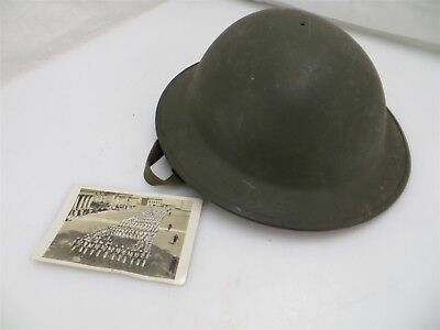Antique WWI Doughboy Brodie Helmet Unlined w/ Chin Strap + Postcard Dated 1912