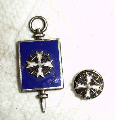 2 Maltese Cross Sterling Pieces-Enamel #'d Key & Screw Back Masonic De Molay