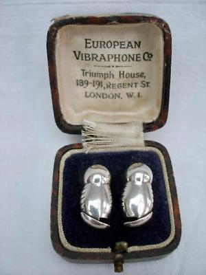 Interesting Pair of Vintage Sterling Silver European Vibraphone Co Hearing Aids