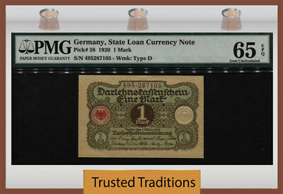 Tt Pk 58 1920 Germany State Loan Currency 1 Mark Pmg 65 Epq Gem Uncirculated!