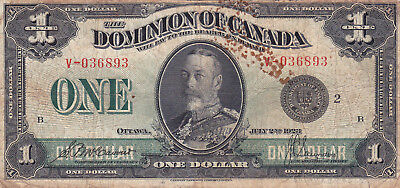 1 Dollar Vg Banknote From British Dominion Of Canada 1923!pick-33!!