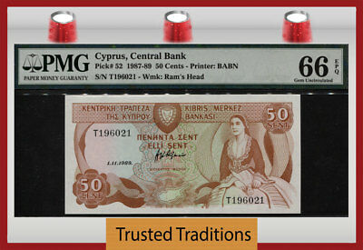 Tt Pk 52 1987-89 Cyprus - Central Bank 50 Cents Pmg 66 Epq Gem Uncirculated!