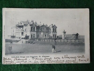 St Andrews Golf. 18th Green With Tom Morris Attending Flag. Undivided Back.