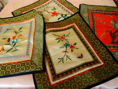 4 Delightful Vintage Chinese Embroidered Silk Panels ~ Floral ~ Butterflies ~