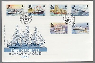 Isle Of Man 1993 FDC Ships Definitives - 22p, 23p, 24p, 25p, 26p & 27p Values