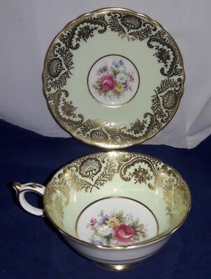 Amazing Paragon Floral Roses Green Gold Gilt Filigree Tea Cup & Saucer A1118
