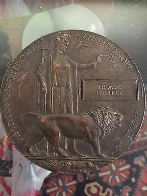 WW1 British Death Plaque Thomas Prentice Hampshire Regmt.  Acting Sergeant Major