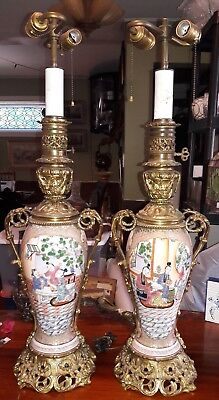 Magnificent Pair Antique French Bronze Mounted Chinese Porcelain Lamps