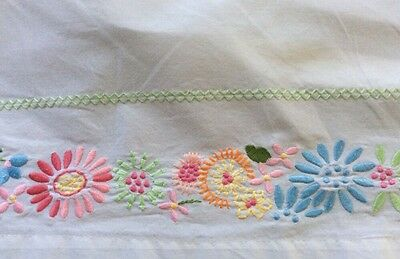 Pottery Barn Kids Embroidered Floral Crib skirt Dust Ruffle- EXCELLENT!