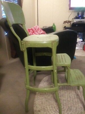 Vintage COSCO STEP STOOL chair rustic industrial metal folding kitchen 60s GREEN