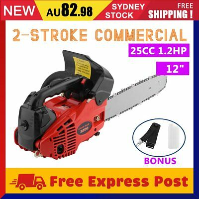 "NEW 25cc Commercial Petrol Chainsaw 12"" Bar Tree Pruning Garden Chain Saw AU"