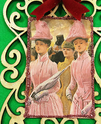 Glittered Victorian Ladies Christmas Ornament Pink Shabby Chic Decoration