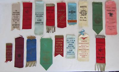 17 Original Antique 1800s Ribbons O.U.A.M., National Blues, D of L, Zouaves RARE