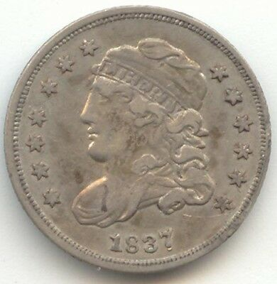 1837 Capped Bust Half Dime, 7/7, VF-XF Details, Large 5 C