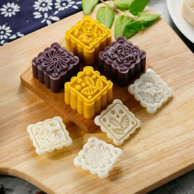 4 Flower Stamps 75g  Moon Cake Decor Mould DIY Pastry Square Mooncake Mold Tool
