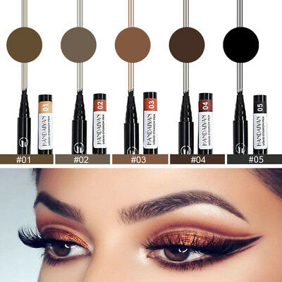 Microblading Tattoo Eyebrow 5Color Ink Pen Waterproof 4 Fork Pencil Brow Definer